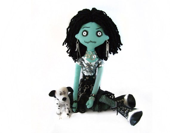 INGRID the mean OOAK rag doll with a really mean dalmatian, creepy horror moster