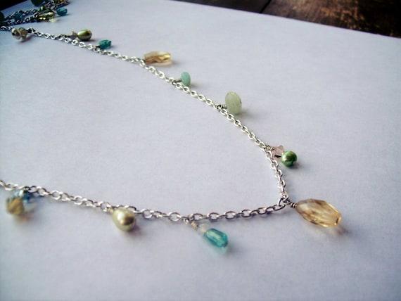 Aqua and Yellow Long Necklace- Aquamarine, Citrine and Pearl Dangles