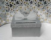 Silver Bling Wedding Card BoxDiamond Mesh Ribbon Baby Shower Sweet 16 Birthday