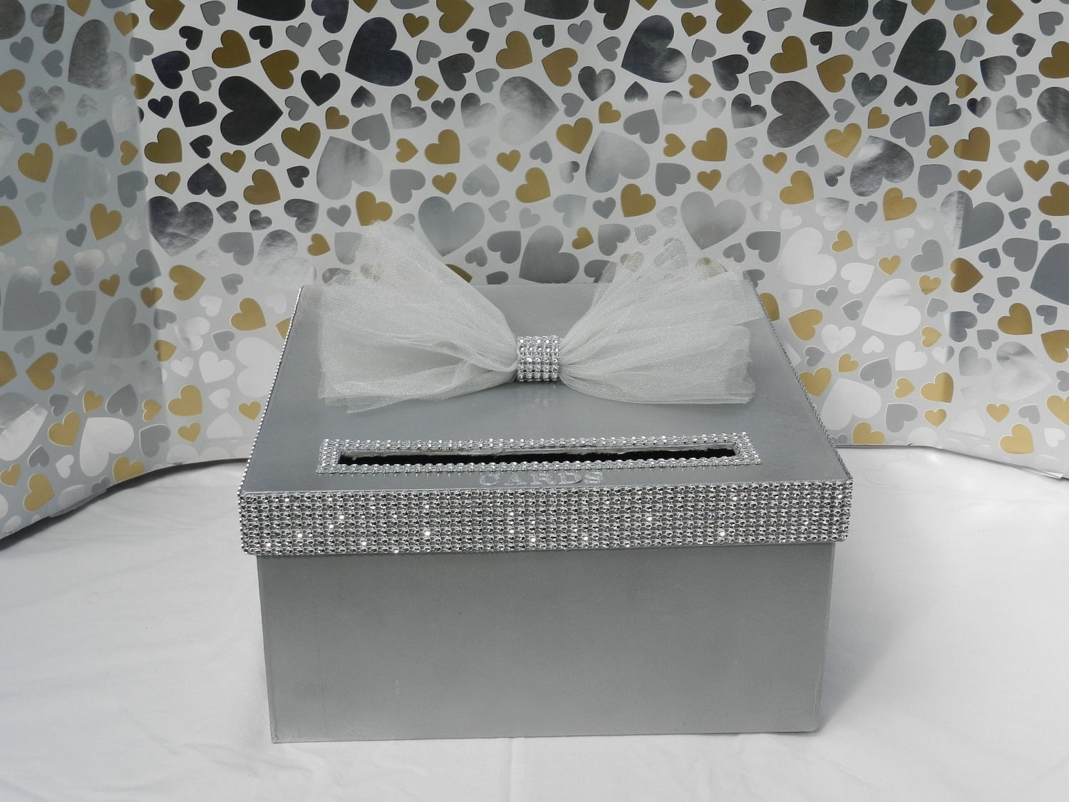 Wedding Shower Gift Card Box : Silver Bling Wedding Card BoxDiamond Mesh Ribbon Baby Shower