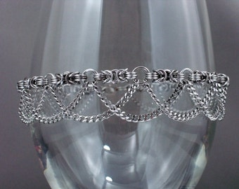 Swooping Chains Stainless Steel Chainmaille Byzantine Anklet