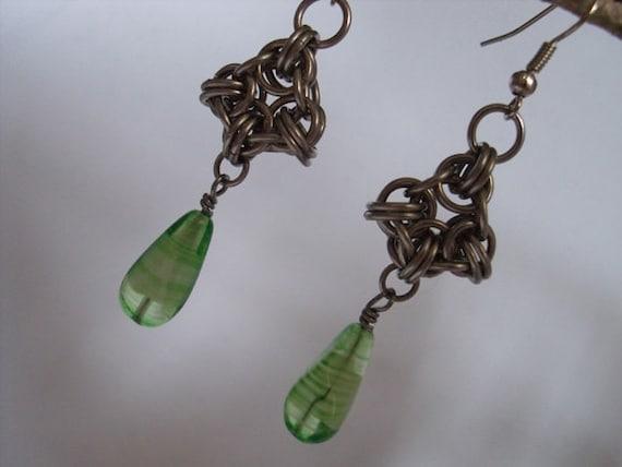Green Chainmail Earrings