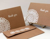 Thank You Card set of 100,  Kraft Thank You Card, Thank You Note, Rustic Wedding Thank You Card, Lace Thank You, note cards,blank note cards