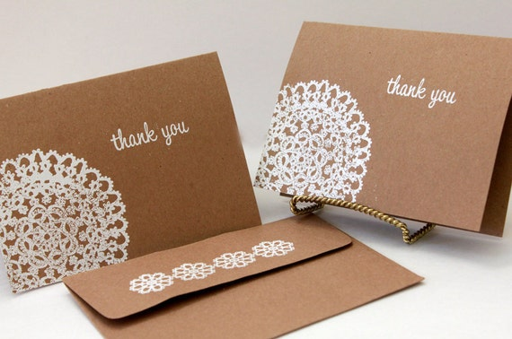 Thank You Card set of 10, Kraft Thank You Cards, Thank You Note, Rustic Wedding Thank You Card, Lace Thank You