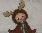 "Cloth Doll ""Pocket Rudolph "" for Christmas / 100% handmade fabric doll/ felt figure/ OOAK"
