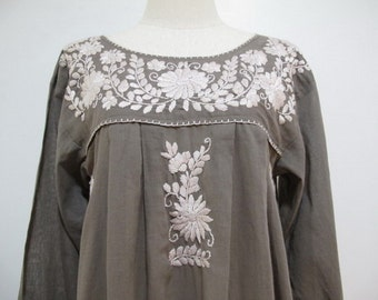 Mexican Embroidered Dress Long Sleeves Tunic, Boho Dress