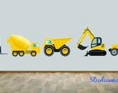 Construction Dump Truck Wall Decal Set of Five REUSABLE WALL DECAL
