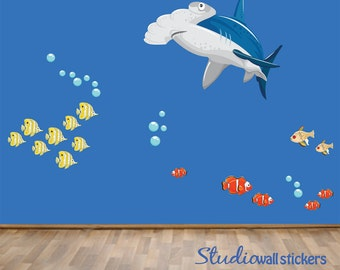 REUSABLE Fish Wall Decal - Childrens Fabric Wall Decal - REUSABLE  Wall Decals