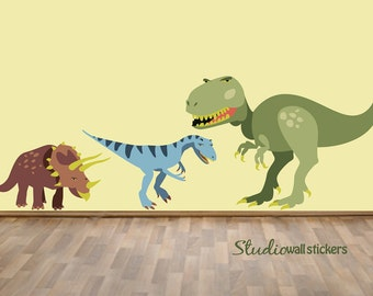 REUSABLE Dinosaur Wall Decal - Childrens Fabric Wall Decal - Trex Raptor Triceratops Wall Decals