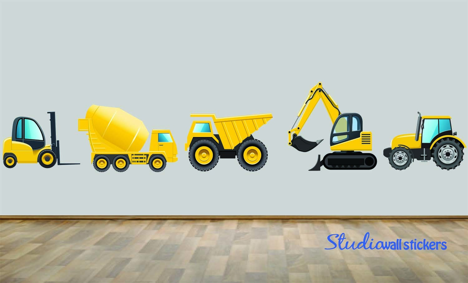 Construction dump truck wall decal set of five reusable wall zoom amipublicfo Images