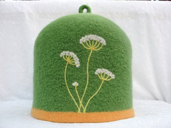 Felted Teapot Cozy with needle felted Queen Anne's Lace design   CUSTOM ORDER