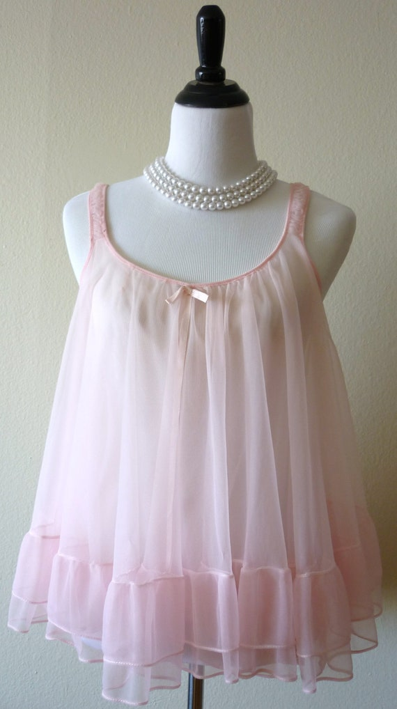 1960 S Baby Pink Baby Doll And Panty Set Sz By