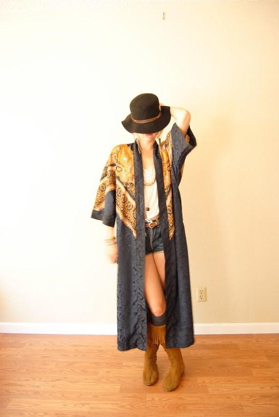 Vintage Boho Hippie Robes Silk Robe Kimono Robe By