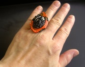 gothic,victorian, halloween,ring, black and orange
