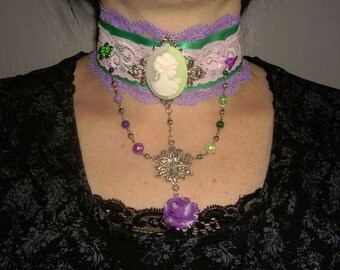gothic,choker,victorian,necklace, cameo and rose bicolor