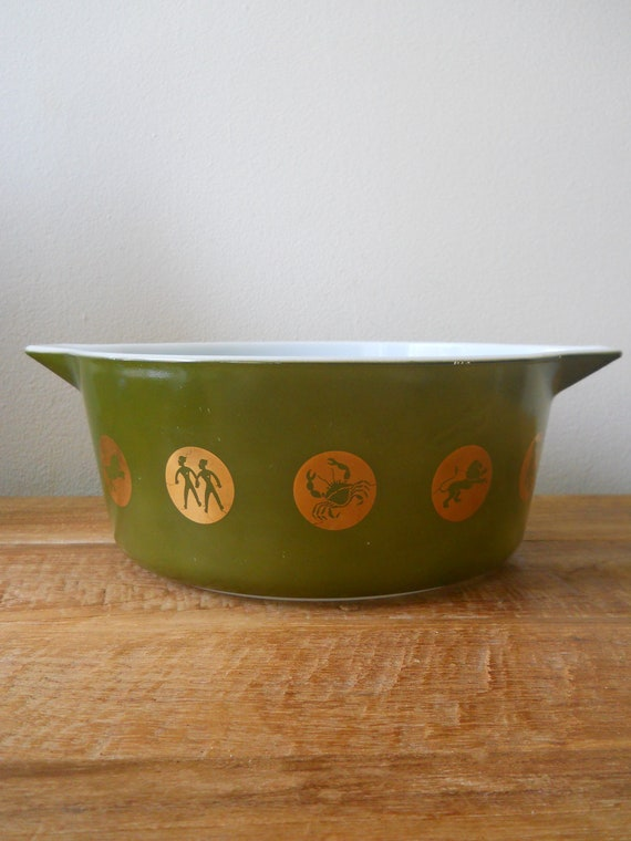 Pyrex Avocado Green and Gold Zodiac Cinderella Casserole