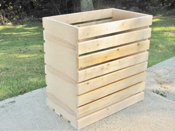 Laundry Basket Rustic Crate Finished Or Unfinished