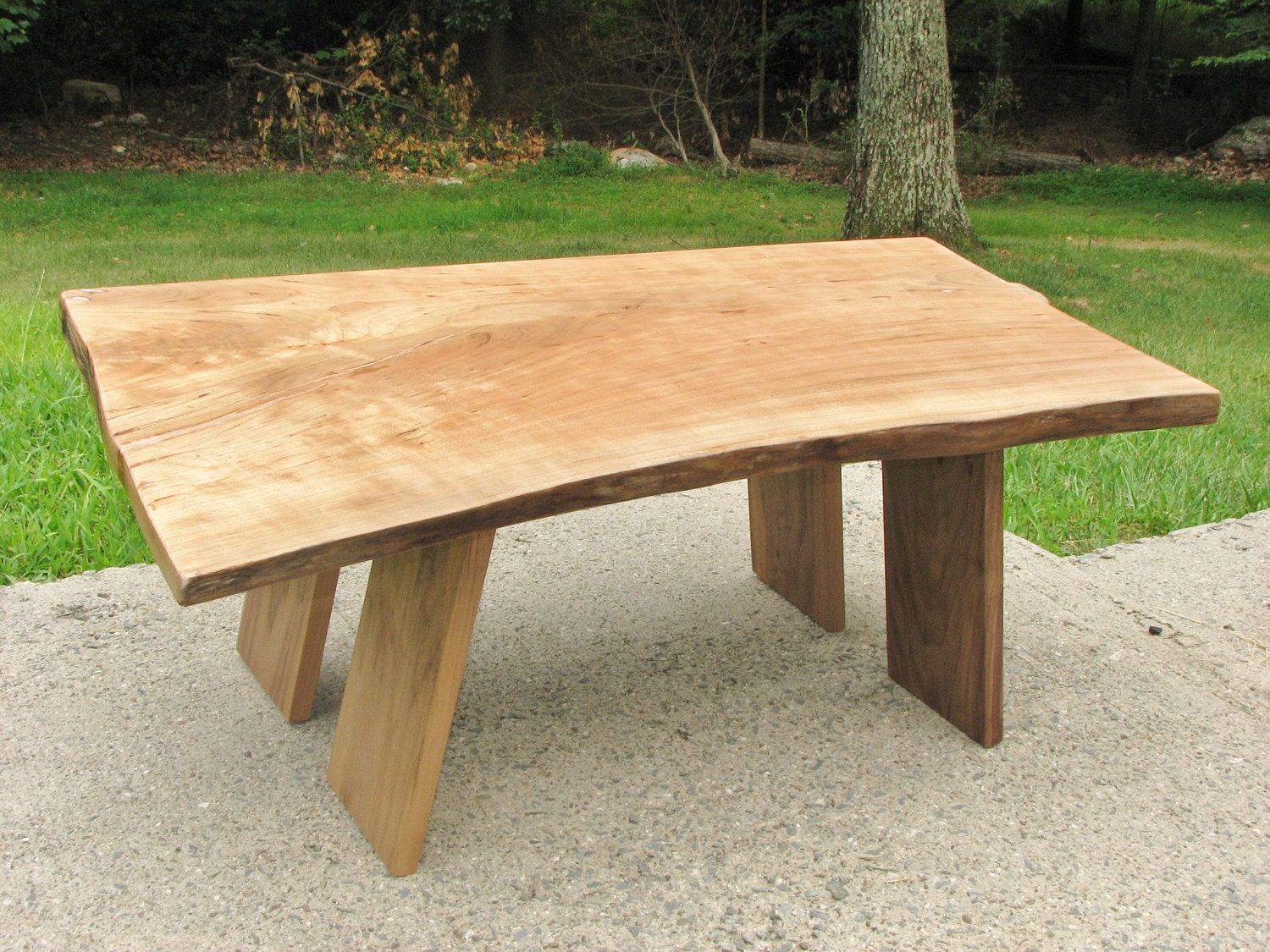Live edge coffee table rustic slab cherry by for Live edge wood slabs new york
