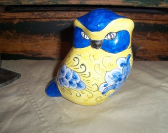 Vibrant Yellow and Blue Ceramic Owl