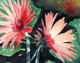 "ACEO Fine Art Print / From an Original Watercolor / Of a Gerbera Daisy / Size 2.5""x3.5"""