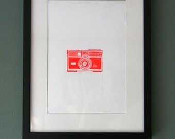 Letterpress poster with vintage camera