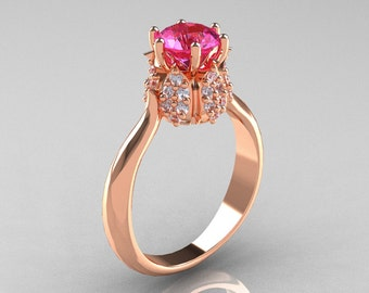 14K Rose Gold Diamond 1.0 Carat Pink Sapphire Tulip Solitaire Engagement Ring NN119-14KRGDPS