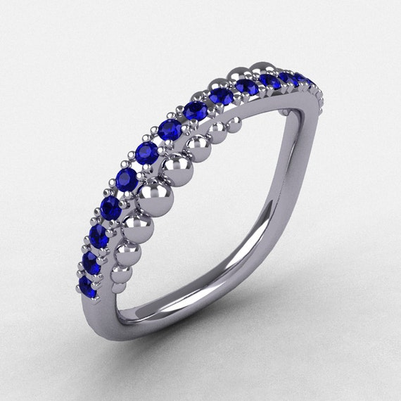 14K White Gold Blue Sapphire Pearl and Vine Wedding Band, Engagement Ring NN115-14KWGBS