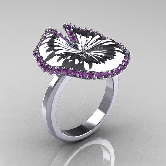 14K White Gold Lilac Amethyst Water Lily Leaf Wedding Ring, Engagement Ring NN121-14KWGLA