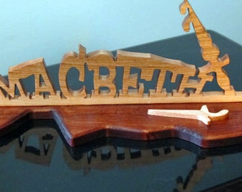 Macbeth Hand Cut Wood Desktop Sign
