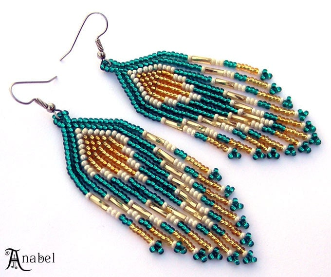 Emerald Bead Beads: Emerald And Gold Native American Style Seed Bead By