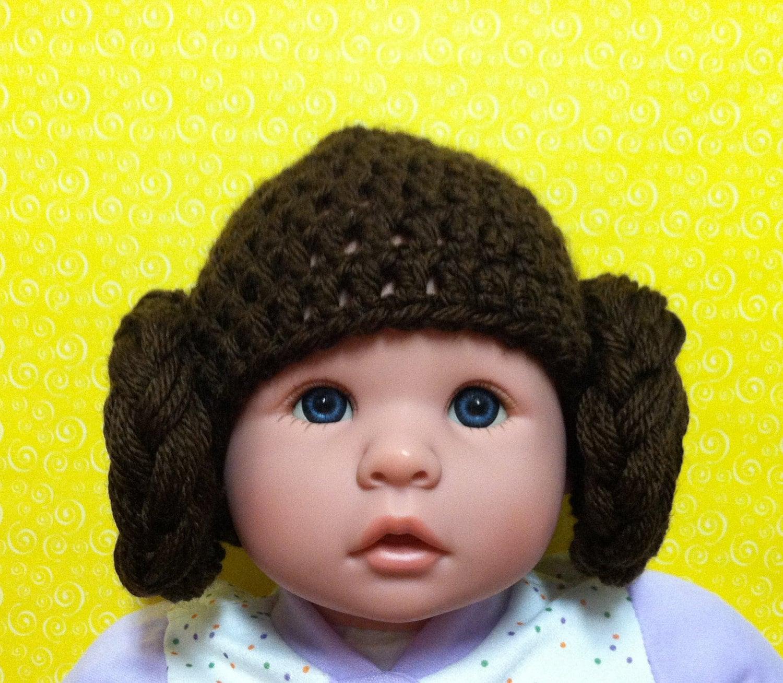 Crochet Pattern Princess Leia Hat : Baby Princess Leia Star Wars Crochet Hat