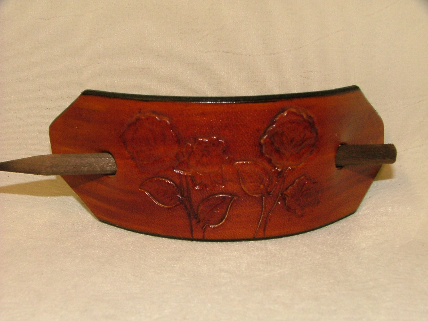 Hand tooled Leather Ponytail Barrette No. BT 1024 ROSES
