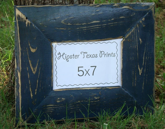 5x7 Wood Photo Frame - Midnight Blue, Western, Handmade - Rustic Home Decor