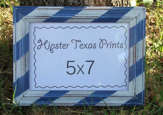 Upcycled Frame 5x7 - Blue & White Stripes, Wooden, Wall Art, Rustic, Western, Country, Home Decor