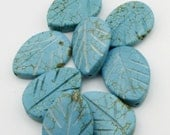 Destash - Turquoise Howlite Carved Leaf Beads - Set of 4