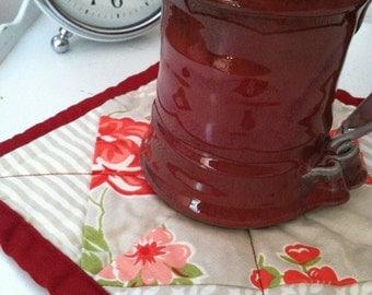 Quilted Patchwork Floral Topper/Mug Mat/Candle Mat/Trivet - Reds & Beige w/ a splash of Aqua (Moda Marmalade)