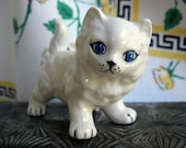 Vintage White Cat Figurine // Ceramic // White and Blue Decor