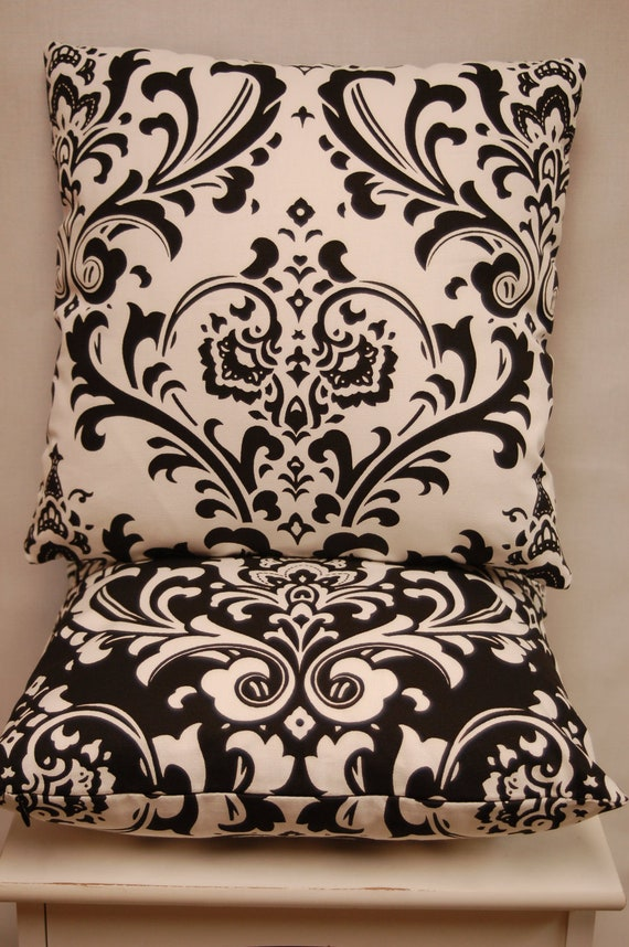 Premier Prints Black White Throw Pillow Cover Damask, Decorative Sofa Pillow, invisible zipper closure