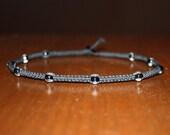 Clear Bead Black Hemp Choker Necklace - Womens Choker - Teen Girl Gifts for Boys Necklace for Kids Jewelry - Custom Choker - Tween Jewelry