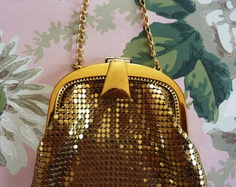 Beautiful 1930's WHITING & DAVIS Gold Mesh Mini Purse