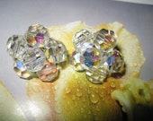 Stunning Vintage Crystal Beaded Aurora Borealis Clip Earrings