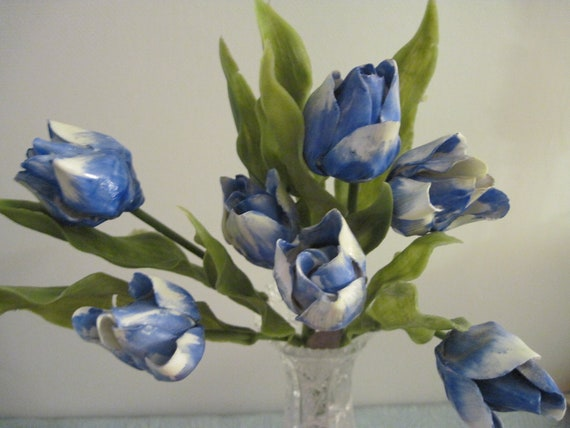 Vintage Royal York Bone China Blue White Tulips Made In