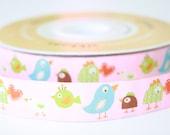 "Renaissance Ribbons - 1 yard - Dena Designs Pink Happi Birds 7/8"""