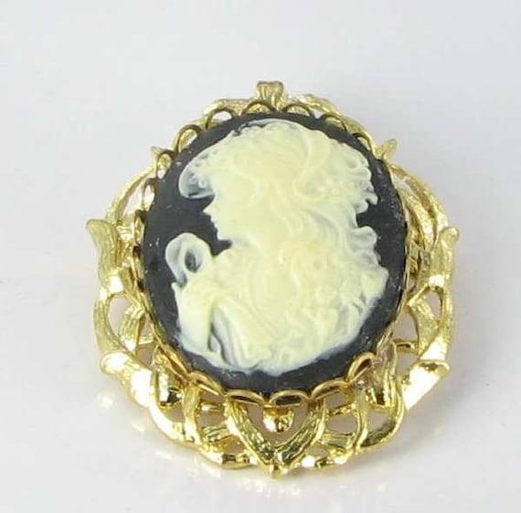 Custom Cameo Resin Pins Diy: Black White Left Facing Resin Lady Cameo Brooch Pin Vintage