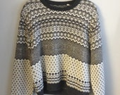 Gray and Black Pattern Sweater.