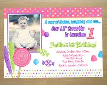 Candy 1st Birthday Invitation - Digital File (Printing Services Available)