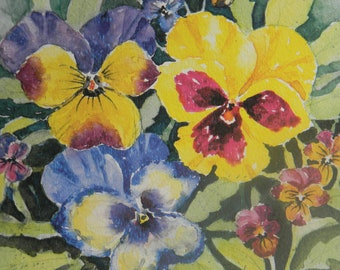 """Colorful Spring Pansies Wall Art Yellow Purple Watercolor Flowers 8.5"""" x 11"""" by Sally Tia Crisp"""
