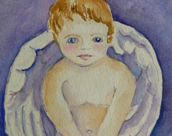 "Purple Heavenly Guardian Angel Baby Watercolor Spiritual Print 8.5"" x 11"" by Sally T. Crisp"