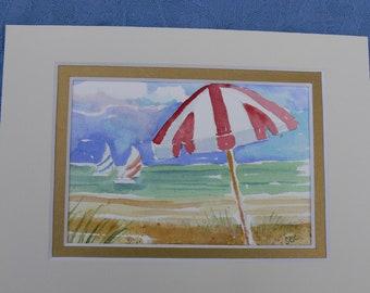 "Spring Sale Beach Art Summer Time Original Miniature Watercolor by Sally Crisp 5"" x 7"" matted"