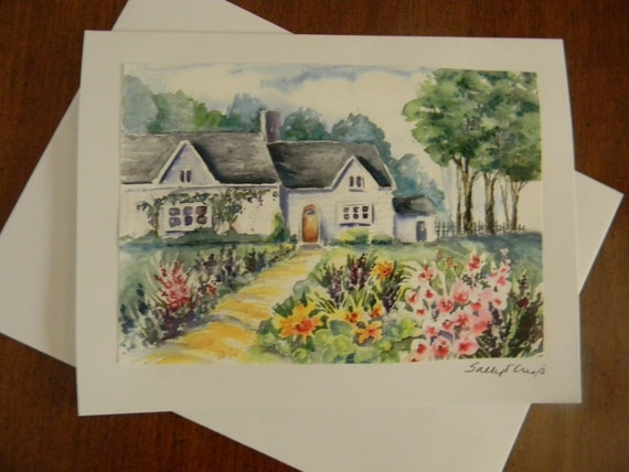 Cottage Garden Blank Watercolor Note Card Watercolor Prints